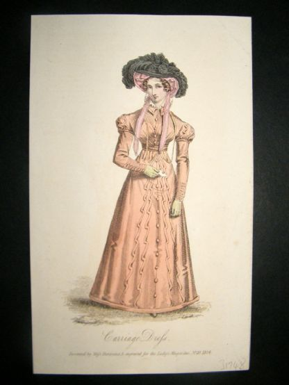 Lady's Magazine 1824 H/Col Regency Fashion Print. Carriage Costume 53 | Albion Prints